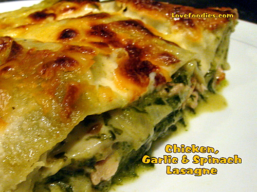 Chicken, Garlic and Spinach Lasagne